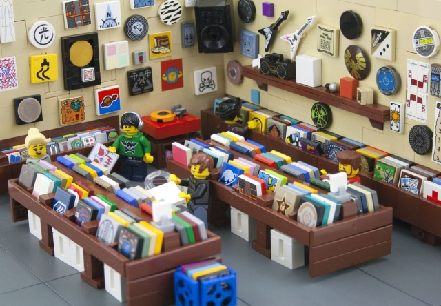 Record shop made from Lego
